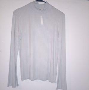 Madewell Light Seafoam crinkle hem soft Sweater